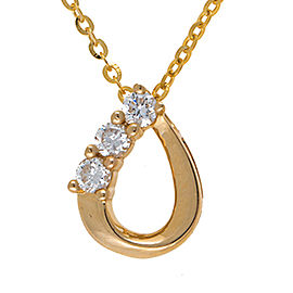 14K Yellow Gold Pear Shape Triple 0.22CT Diamond Pendant Necklace