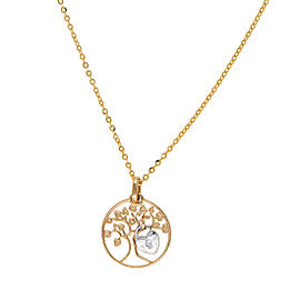 14K Yellow Gold Tree of Life Heart Locket 0.01CT Diamond Pendant Necklace