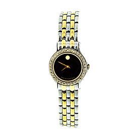 Movado Museum Two Tone 85-e4-9812 Diamond Bezel Watch