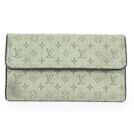 Louis Vuitton Khaki Monogram Mini Lin Porte Tresor Sarah Long Wallet 793lvs46