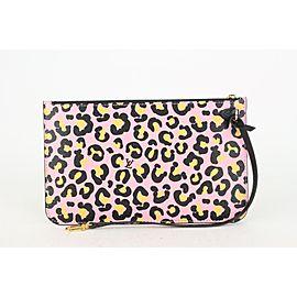 Louis Vuitton Pink Monogram Wild at Heart Neverfull Pochette Wristlet Bag 818lv48