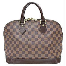 Louis Vuitton Alma Damier Ebene Pm 868021 Brown Coated Canvas Satchel