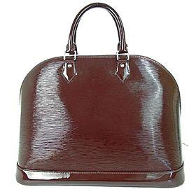 Louis Vuitton Alma Gm Prune Electric Epi Bowler 872673 Burgundy-purple Patent Leather Satchel
