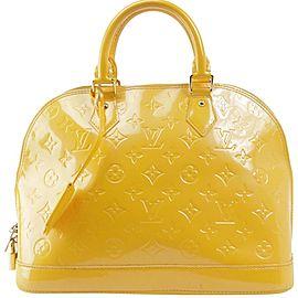 Louis Vuitton Alma Jaune Passion Pm 11lk1205 Yellow Monogram Vernis Leather Satchel