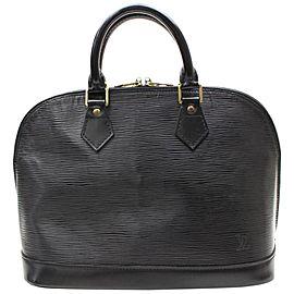 Louis Vuitton Alma Noir 867516 Black Leather Satchel