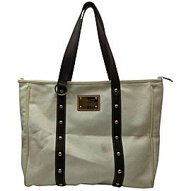 Louis Vuitton White x Brown Cabas Antigua GM Tote Bag 862065