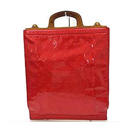 Louis Vuitton Red Monogram Vernis Stanton Sac Plat Tote Bag