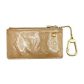 Louis Vuitton Beige Noisette Monogram Vernis Key Pouch Pochette cles 863489