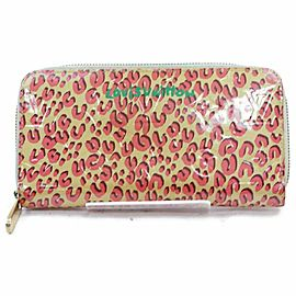 Louis Vuitton Blanc Corail Vernis Stephen Sprouse Leopard Zippy Wallet Long 860956