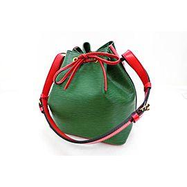 Louis Vuitton Hobo Bicolor Epi Petit Noe 220701 Red X Green Leather Shoulder Bag