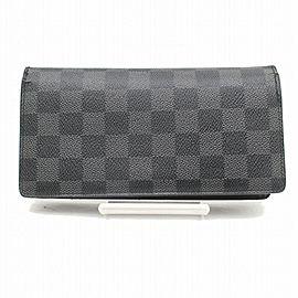 Louis Vuitton Black Damier Graphite Brazza Long Bifold Portefeuille 871035 Wallet