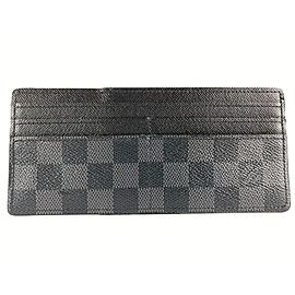 Louis Vuitton Black Damier Graphite Long Card Holder Wallet Case 7lvm128