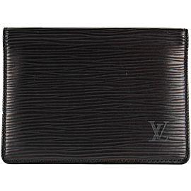 Louis Vuitton Black Epi Leather ID Holder Card Case Wallet 14LVS1210