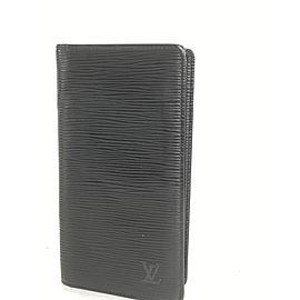 Louis Vuitton Black Epi Noir Long Bifold Card Wallet Brazza 4la520