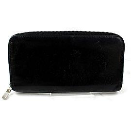Louis Vuitton Black Calf Leather Zippy Zip Around Long Wallet 871954