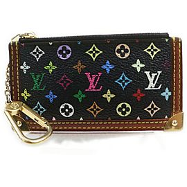 Louis Vuitton Black Monogram Multicolor Key Pouch Pochette Cles Keychain 861972