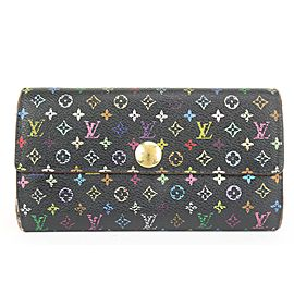 Louis Vuitton Black Multicolor Sarah Wallet Long Flap 862614