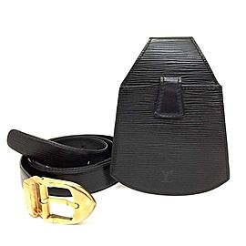 Louis Vuitton Black Epi Ceinture Belt with Sherwood Bum Bag 866781