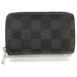 Louis Vuitton Black Damier Graphite Zippy Coin Purse Compact Wallet 861781
