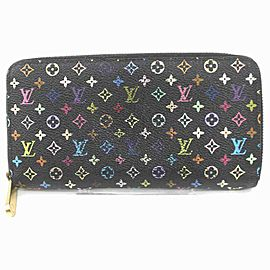 Louis Vuitton Black Multicolor Noir Long Zippy Wallet Zip Around 860204