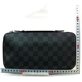 Louis Vuitton XL Zippy Organizer Black Damier Graphite Zip Around Travel Case 872622
