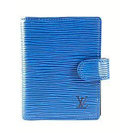 Louis Vuitton Blue Epi Leather Toledo Mini Agenda Small Cover Card Case 13lv51