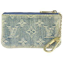 Louis Vuitton Rare Blue Monogram Denim Key Pouch Pochette Cles 823lv25
