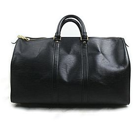 Louis Vuitton Black Epi Leather Keepall 45 Boston Duffle PM 863015