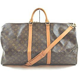 Louis Vuitton Monogram Keepall Bandouliere 55 Duffle Bag with Strap