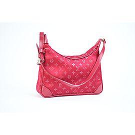 Louis Vuitton Boulogne 214848 Mini Red Monogram Satin Satchel