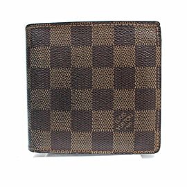 Louis Vuitton Brown Damier Ebene Portefeuille Marco Men's Bifold 871384 Wallet