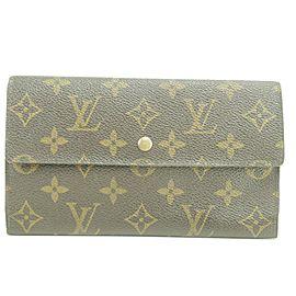 Louis Vuitton Brown Tresor Porte 39lk0110 Monogram Sarah Long Trifold Wallet