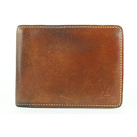 Louis Vuitton Brown Vachetta Nomade Leather Bifold Wallet Mens Slender Marco 96lvs42