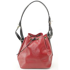 Louis Vuitton Bicolor Red Black Epi Petit Noe Drawstring Bucket Hobo 18LK1203