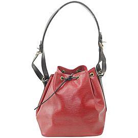 Louis Vuitton Bucket Bicolor Black Petit Noe Drawstring 18lk1203 Red Epi Leather Hobo Bag