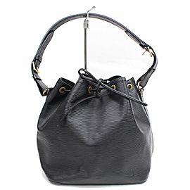 Louis Vuitton Bucket Petit Noe Drawstring 868454 Black Leather Shoulder Bag