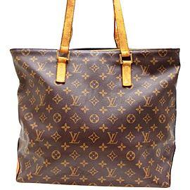 Louis Vuitton Cabas Mezzo Zip 234364 Brown Monogram Canvas And Calfskin Tote