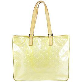 Louis Vuitton Columbus Green-silver Zip 29lk1219 Green Monogram Vernis Leather Tote