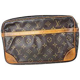 Louis Vuitton Compiegne Monogram 28 13lva61 Brown Coated Canvas Clutch