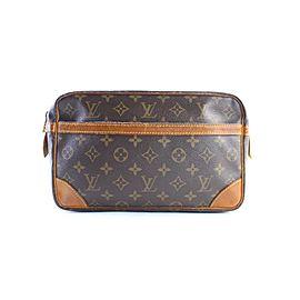 Louis Vuitton Compiegne Monogram 28 Zip Pouch 4lr0626 Brown Coated Canvas Clutch