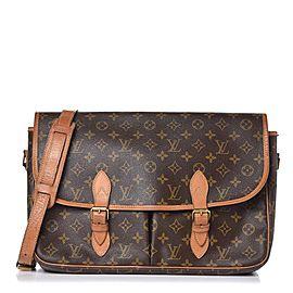 Louis Vuitton Crossbody Gibeciere Monogram 7lv617 Brown Coated Canvas Messenger Bag