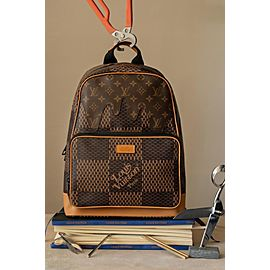 Louis Vuitton Damier Ebene Nigo Campus Limited Rare Runway Drip Melt 7lva730 Brown Coated Canvas Backpack