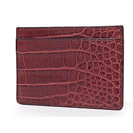 Louis Vuitton Dark Red Burgundy Crocodile Leather Card Holder 239723 Wallet