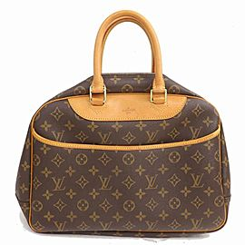 Louis Vuitton Deauville Monogram Bowler 871558 Brown Coated Canvas Satchel