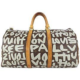 Louis Vuitton Stephen Sprouse Monogram Graffiti Keepall 50 Duffle Bag Grey 157lvs79