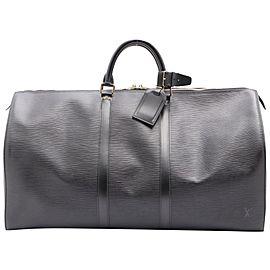 Louis Vuitton Black Epi LEather Keepall 55 Boston Duffle Bag 862048