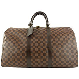 Louis Vuitton Damier Ebene Keepall 50 Boston Duffle Bag 127lvs49