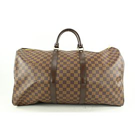 Louis Vuitton Damier Ebene Keepall Bandouliere 55 Duffle Bag with Strap 9lv62