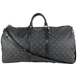 Louis Vuitton Monogram Eclipse Keepall Bandouliere 55 Duffle Bag with Strap 92lvs71
