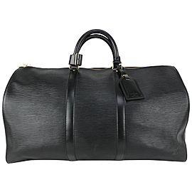 Louis Vuitton Black Epi Leather Noir Keepall 50 Duffle Bag 825lv59